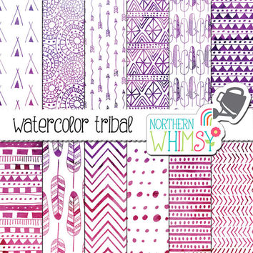 Watercolor Tribal Digital Paper - pink and purple watercolor feather, arrow, teepee, and geometric tribal patterns on white - commercial use