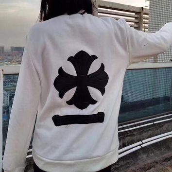 """""""Chrome Hearts"""" Women Casual Cross Leather Embroidery Long Sleeve Sweater Tops"""