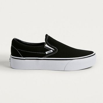 Vans Classic Black Slip-On Platform Trainers | Urban Outfitters