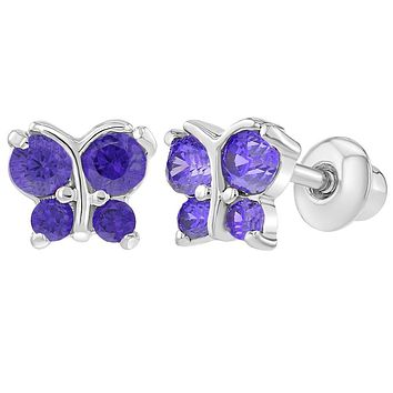 Rhodium Plated Tiny Purple CZ Butterfly Screw Back Earrings Toddlers Kids Babies