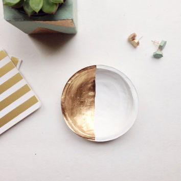 White and Gold Jewelry Dish/White and Gold Ring Dish