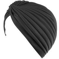 Deobox Pleated Twisted Stretchable Polyester Women's Swim Bathing Turban Head Cover / Sun Cap