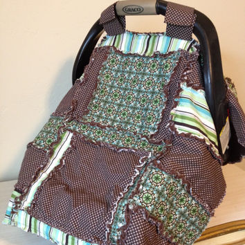 Car Seat Cover, Baby Carseat Canopy, Nursing Quilt, Blue Green, Made to Order