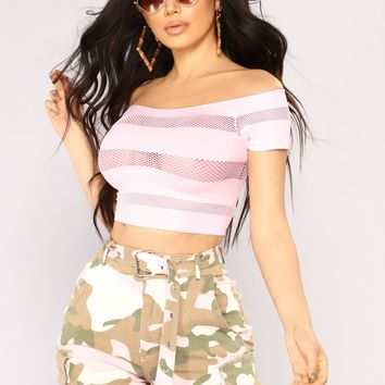 The Meshier The Better Crop Top - Pink