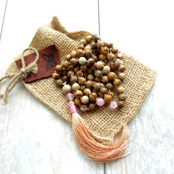 Picture Jasper Mala Beads, Hand Knotted Tassel Mala, 108 Bead Mala Necklace, Long Mala Beads, Yoga Necklace, Gemstone Mala Beads