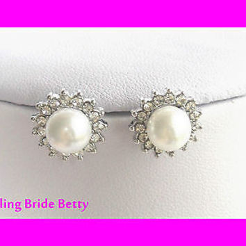 Elegant Post Reversable Bridal Earring Dainty Bridesmaid White Pearl Silver Tone