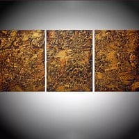 """ARTFINDER: triptych 3 panel large wall decor art """" Gold and Orange Peel """" acrylic three part impasto effect 3 panel on canvas wall abstract 48 x 20 """" by Stuart Wright - """" Gold and Orange Peel """" extra large triptych 3..."""