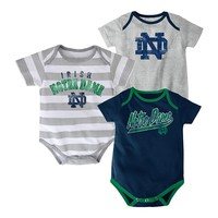 adidas 3-pk. Notre Dame Fighting Irish Lil' Fan Bodysuits - Baby