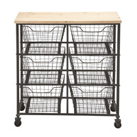 Unique Styled Fancy Metal Wood Storage Cart