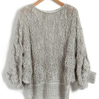 Light Grey Boat Neckline Knitted Cardigan with Batwing Sleeves