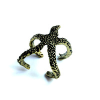 """You're A Star"" Starfish Gold And Black Accent Ring"
