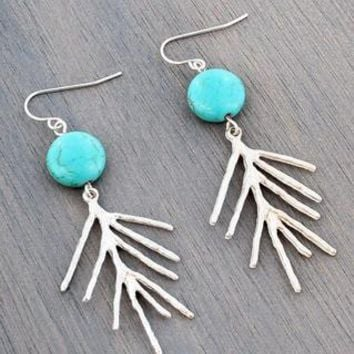 Turquoise Bead and Worn Silvertone Tree Branch Earrings