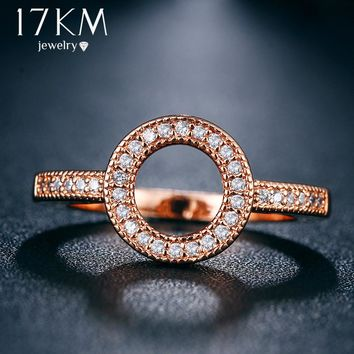 17KM Cubic Zirconia Geometric Rings for Women New Fashion Wedding Party Jewelry Crystal Ring Statement Jewelry Gift