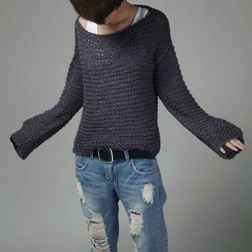 Simple is the best - Hand knit sweater Eco cotton oversized in Charcoal-ready to ship