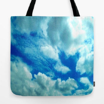 Poplin Fabric Tote Bag // Photo Print Bag // Photo Print Tote // Grocery Tote // Beach Bag // Gift // Clouds Sky // Made To Order - #23