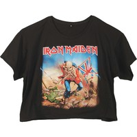Iron Maiden Women's  Trooper Girls Jr Fashion Top Black