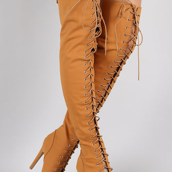 Nubuck Lace Up Peep Toe Stiletto Over the Knee Boots