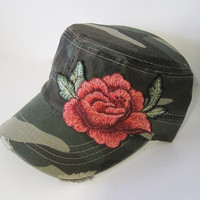 Camouflage Distressed Cadet Military Hat with Gorgeous Embroidered Red Rose Appliqué Caps Military Hats Accessories