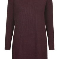 Clean-Cut Ribbed Jumper Dress - Burgundy
