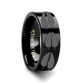 Thorsten rings black deer track design engraved flat tungsten carbide ring 4mm
