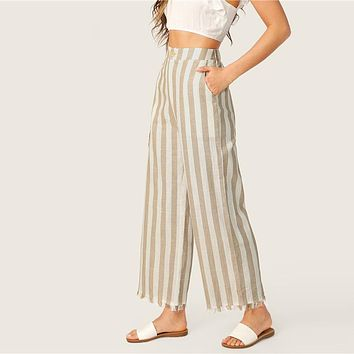Khaki Casual Buttoned Front Raw Hem Striped Wide Leg Pants Women Clothes Button Fly Pocket Zipper Long Trouser