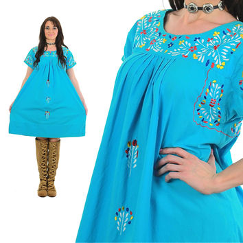 Traditional Mexican Dress Embroidered Oaxacan Mini Tunic Boho Blue 70s Hippie Ethnic 1970s Bohemian Vintage Turquoise Medium Large 2592
