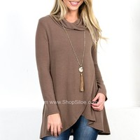 Asymmetrical Glam Taupe Top