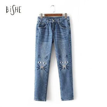 Jeans Woman Cat Lovely Embroidered Jeans Female Washed Denim Pants Women Jeans Scratched Bleached Pantalon Zipper Trousers