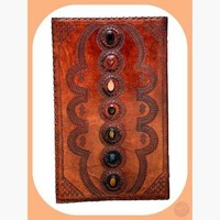 "7 Chakra Leather Journal  - Huge 14"" x 22"""