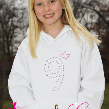 Rhinestone Birthday Sweatshirt Princess Number Age Hoodie Girls Ladies , Personalized Swarovski Rhinestones, Custom made, Choose colors