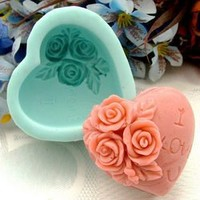 Guluote Rose Decoration Heart Craft Mold Art Silicone DIY Handmade Soap Molds