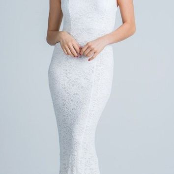 White Cap Sleeves Fit and Flare Long Formal Dress Lace Cut Out Back