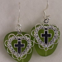 SEAE03 Silver Sea Glass Earrings with Silver Crosses