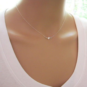 Tiny Diamond Necklace - CZ Necklace - Sterling Silver Tiny Necklace - Dainty Necklace - Everyday Jewelry - Simple Jewelry - Choker Necklace