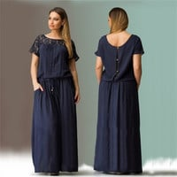 Plus Size Elegent Women Cozy Summer Short Sleeve Long Evening Party Prom Maxi Dress Vestidos Summer Dress