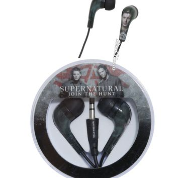 Licensed cool CW Supernatural Sam & Dean RUNE Symbol Earbuds Earphones Headphones Circle Case
