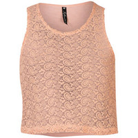INFLUENCE WOMEN'S CROCHET LACE CROPPED TOP - CORAL