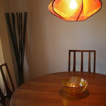 Vintage Mid Century Hanging Swag Lamp - Geometrical Yellow & Red Spun Rubber