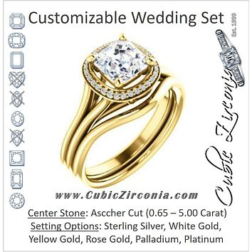 CZ Wedding Set, featuring The Jaci engagement ring (Customizable Cathedral-set Asscher Cut Design with Split-Band and Halo Accents)
