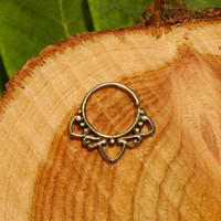 Silver septum ring 1.2mm 16g, tribal tragus earring mandala hoop gypsy wire pierced nose