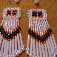 Native American Style earrings in pearly white