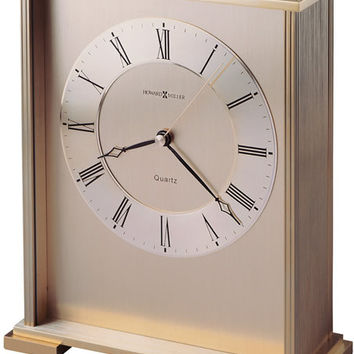 0-010877>Exton Table-top Clock Brushed and Polished Brass