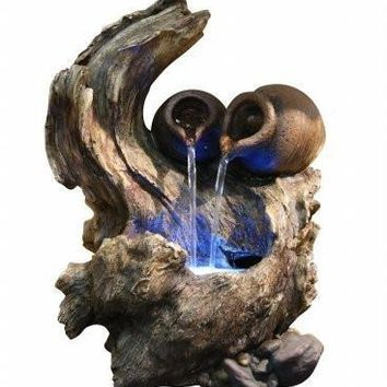 Alpine Two Pots Cascading On Tree Branch Fountain with LED Lights
