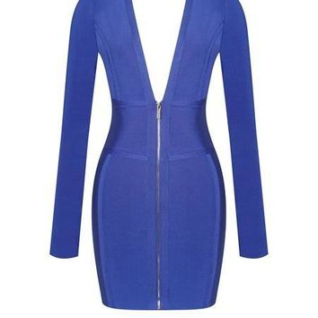 Royal Blue Low Cut V Bodycon Long Sleeve Bandage Dress