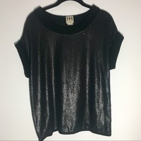 Haute Hippie Black Sequin Short Sleeve Shirt Sz M