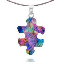 Sterling Silver Dichroic Glass Green and Blue with Translucent Pink Puzzle Piece Pendant Necklace on Stainless Steel Wire, 18""