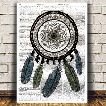 Dreamcatcher poster Native art Dictionary print Tribal print RTA683