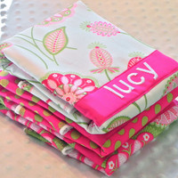 Personalized Burp Cloth Set - Baby Girl Fuchsia Pink and Lime Green Flower Bursts and Polka Dots