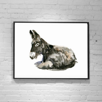 Donkey Art - Donkey painting - giclee print - Animal Painting - donkey watercolor - asian style - donkey illustration - donkey image