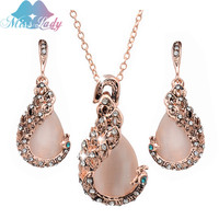Miss Lady Rose Gold Plated Rhinestone Crystal Owl Peacock Simulated sapphire Necklace Earring Jewelry Sets for women MLMGW002